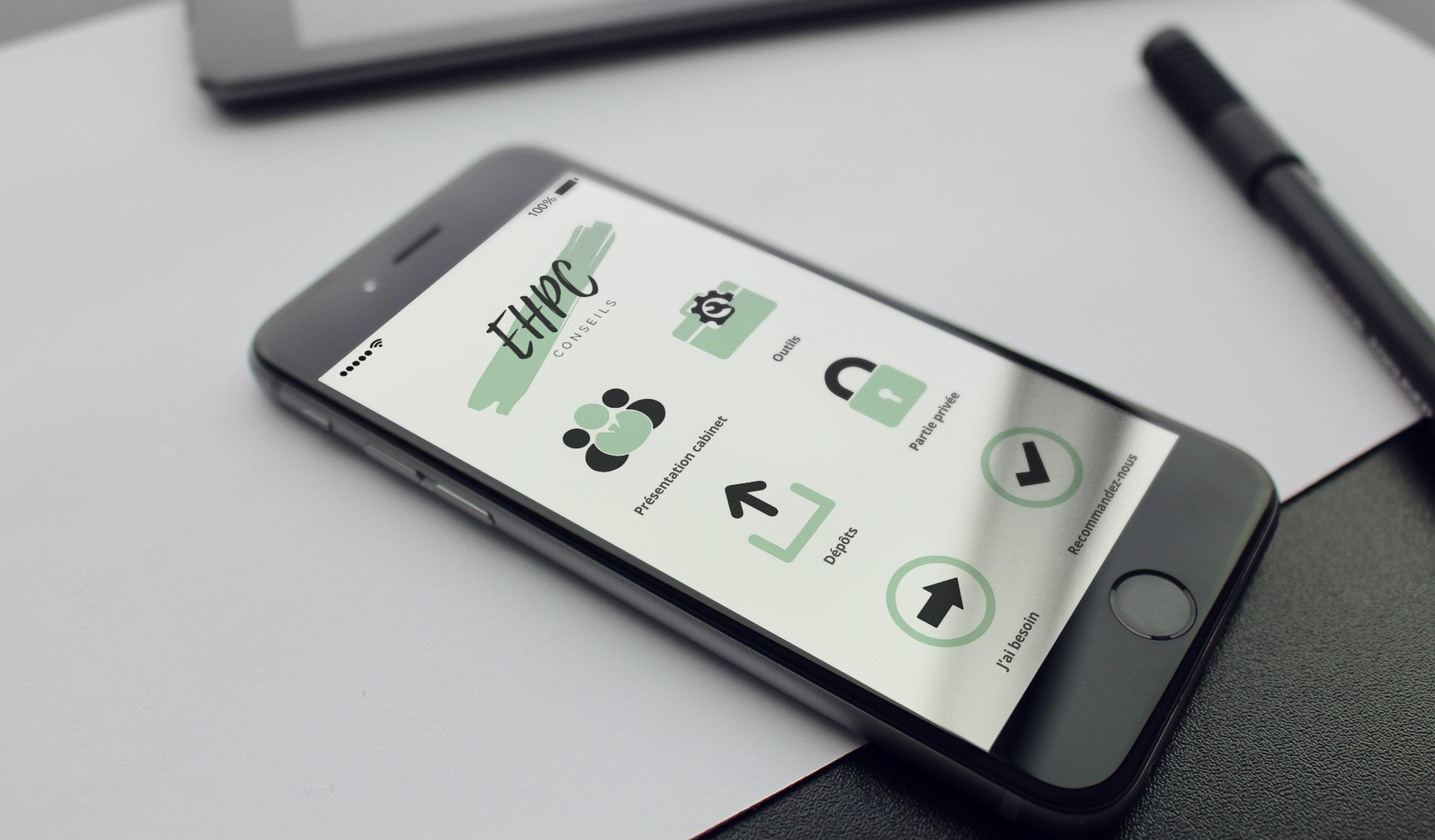 application mobile du cabinet d'expertise comptable EHPC Conseils appartenant à Emilie humbrecht et pascale combabessou