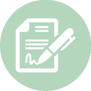 picto symbolisant l'accompagnement lors de la rédaction et de la vérification d'un contrat de travail réalisé par le cabinet d'expertise comptable EHPC Conseils appartenant à pascale combabessou et emilie humbrecht vous conseille - picto vert et blanc