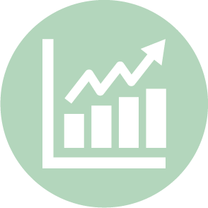 picto symbolisant le budget prévisionnel domaine dans lequel le cabinet d'expertise comptable EHPC Conseils appartenant à pascale combabessou et emilie humbrecht vous conseille - picto vert et blanc