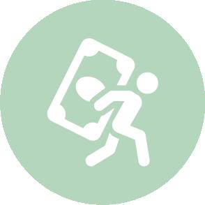 picto symbolisant le suivi de trésorerie réalisé par le cabinet d'expertise comptable EHPC Conseils appartenant à pascale combabessou et emilie humbrecht vous conseille - picto vert et blanc