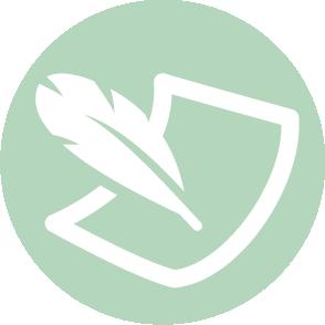 picto symbolisant les formalités juridiques domaine dans lequel le cabinet d'expertise comptable EHPC Conseils appartenant à pascale combabessou et emilie humbrecht vous conseille - picto vert et blanc